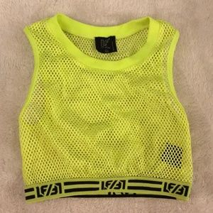 LF Neon Yellow Mesh Crop Top XS
